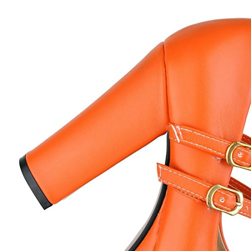YE Damen High Heels Plateau Pumps Blockabsatz mit Riemchen und Schnalle Retro Marty Jane Schuhe Orange