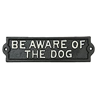 6Y1599 Clayre & Eef - Decorative sign - Text - BE AWARE OF THE DOG - Brown ca. 8.7 x 2 in