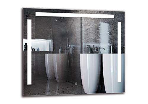 Espejo LED Deluxe - Dimensiones del Espejo 80x70 cm - Interruptor tactil - Espejo de baño con iluminación...