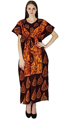 Coton Imprimé Cover Up Plus Size Femmes Casual longue Kaftan Boho Hippy Dress Bordeaux et Orange