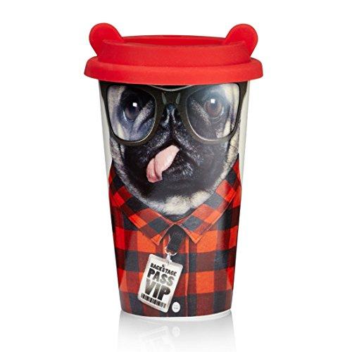 MUSTARD – Coffee Dog Cup I Kaffee-to-Go Becher mit Silikon-Deckel I Keramik I isolierter Kaffeebecher für unterwegs I Hitzebeständig I doppelte Thermo-Beschichtung I Geschenkidee für Studenten – Hund