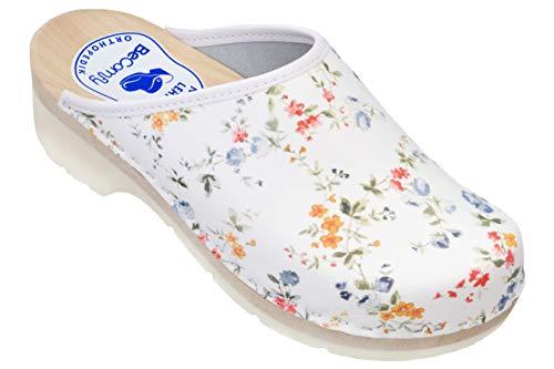 BeComfy Damen Clogs Pantofflen Holzschuhe Weiß VK42 (41 EU, DA09 Bunte Blumen)