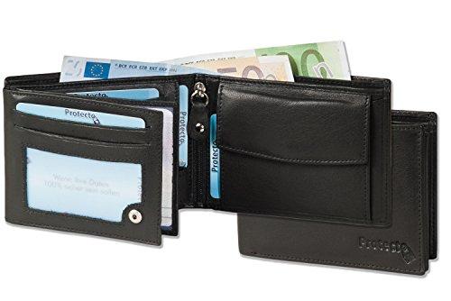 Protecto® - Portafoglio bullone Premium in formato orizzontale con il sistema RFID Blocker in pelle di bufalo naturale