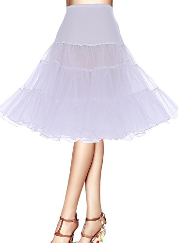 Jahre Frauen Für 1950er Kostüme (Bbonlinedress Organza 50s Vintage Rockabilly Petticoat Underskirt White)