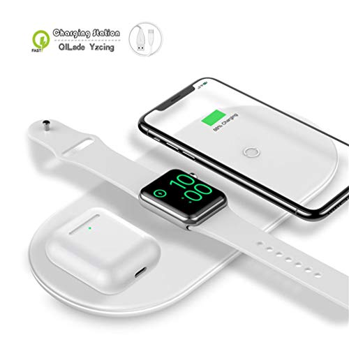 Kabellose Ladestation / 3 in 1 Tragbare kabellose Ladestation/Qi Schnelle kabellose Ladematte Kompatibel mit Airpods Apple Watch-Serie 1 2 3 4 iPhone XS Max Xr X 8 Plus,White Power-mat Apple