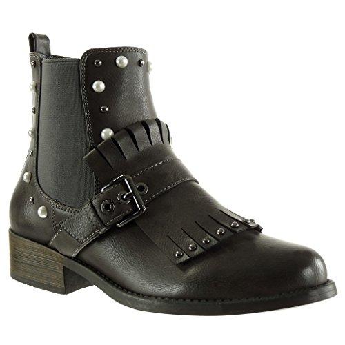 Angkorly - Damen Schuhe Stiefeletten - Chelsea Boots - Biker - Reitstiefel - Kavalier - Fransen - Nieten - besetzt - Perle Blockabsatz high Heel 3.5 cm - Grau YBS2310 T 40