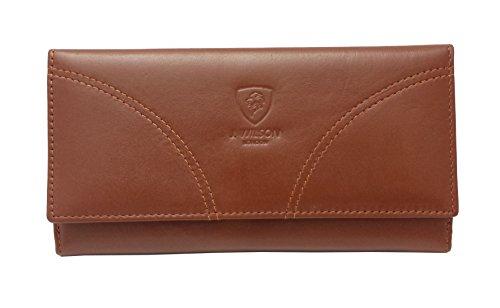 J Wilson, mit RFID-blockierende Damen-Qualität-Leder Geldbörse Portemonnaie schwarz, Leder, braun, M (Braun Brieftasche Leder Falten)