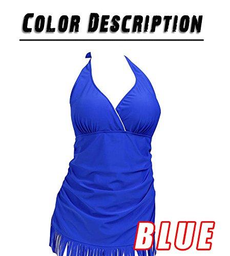 ELEOPTION Damen Bandage Bikini Push-up Badeanzug High Waist Bademode mit Maserung Pattern Badebekleidungs Blau 6810
