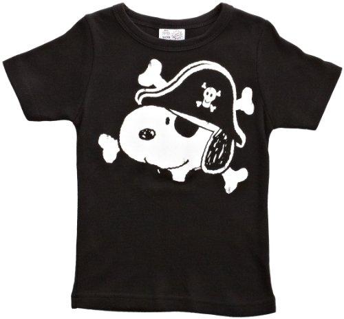 Logoshirt Jungen T-Shirt Peanuts Snoopy Pirate, Gr. 134 (Herstellergröße: 7-9 Years), Schwarz