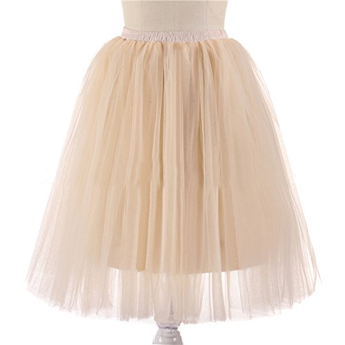 Honeystore Damen's 5 Layer Knielanger Rock Elastic Bund Tutu Prinzessin Tütü Tutu Petticoat Ballettrock One Size (H&m Kostüm Ballett)