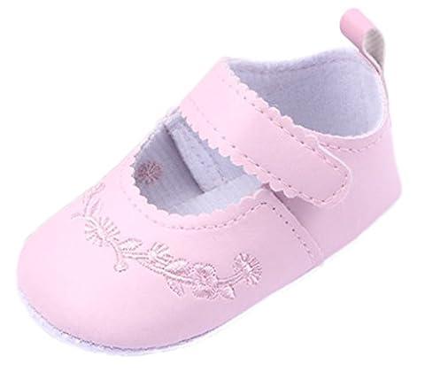 Bigood Baby Leather Embroider Prewalker Princess Shoes Pink Length 13