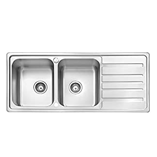 41fphS IncL. SS324  - JASS FERRY - Escurridor reversible de acero inoxidable para fregadero de cocina, 2 cuencos, 1160 x 500 mm, 10 años de garantía