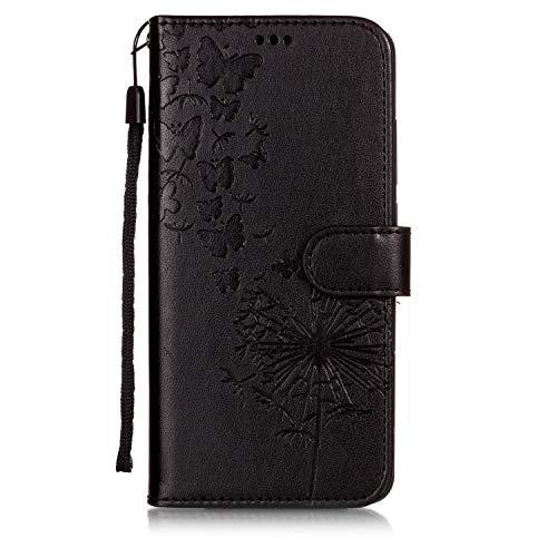 ChoosEU Compatible with Xiaomi Redmi Note 5 / Note 5 Pro Hülle Silikon Leder mit Handyhülle Intern Muster Lederhülle kartenfach Schutzhülle Flip Case Stoßfest Standfunktion Handytasche - Schwarz