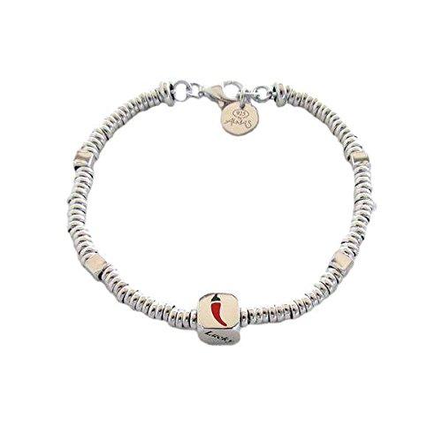 Armband Almas Schmuck in Silber mit Unterteilungen Strickgarn und Cubetto Bohnen Glück Lucky mit Bad in Gold Gelb -