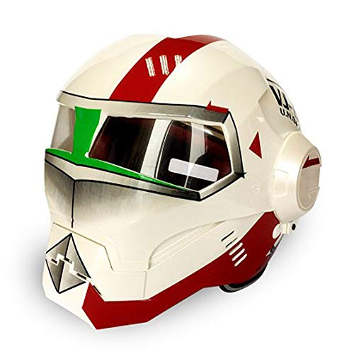 ZHONGST Persönlichkeit Motorradhelm Iron Man Retro Full Face Helm Open Face Helm Racing