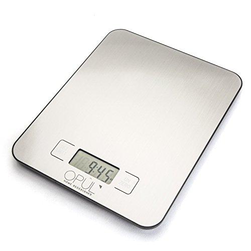 Balance de Cuisine Electronique avec Timer, Fonction Horloge - Jusqu'à 15kg avec Haute Précision et Fonction Tare - Design Chic, Facilement Maniable - Balances de Cuisine Digitale en Inox par Opul