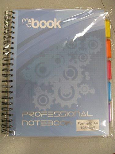 My book professional formato a4 125 fogli quadretto 0,5 e 1 rigo con separatori