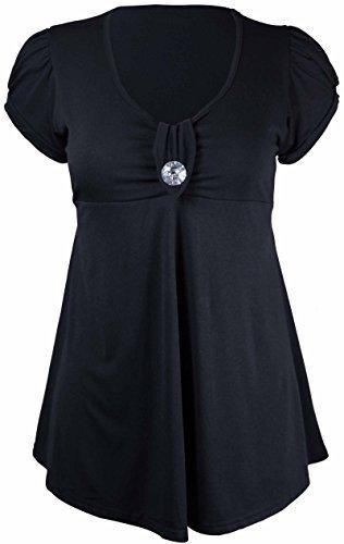 Purple Hanger - Damen T-Shirt Einfarbiges Top Broschen Front Knopf Kurzer Arm U-Ausschnitt Übergröße - EU 50-52, Schwarz (Damen-knopf-front-shirt)