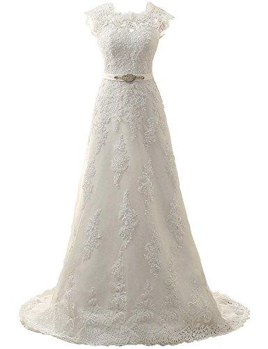 JAEDEN Donne A Linea Pizzo Abiti da sposa Lungo Vestito da cerimonia Avorio