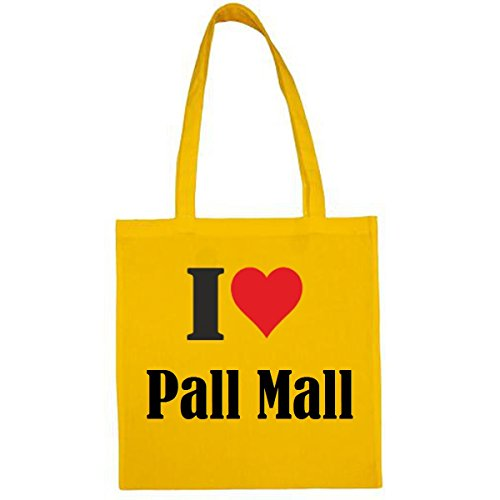 Tasche I Love Pall Mall Größe 38x42 Farbe Gelb Druck Schwarz