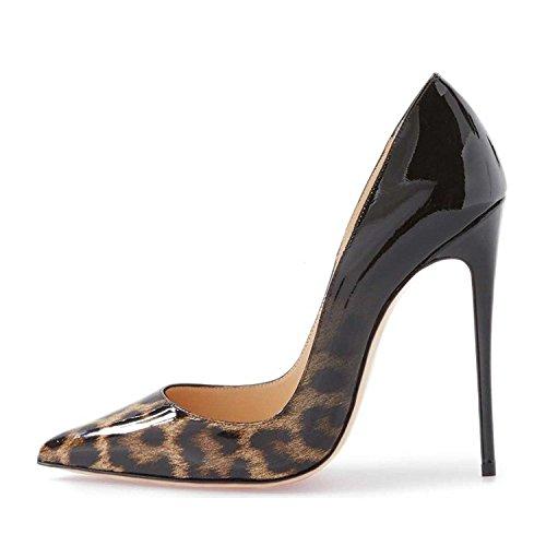 uBeauty Damen High Heels Stilettos Slip-on Pumps Spitze Zehen Sexy Übergröße Schuhe Schwarz