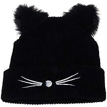 AEGKH Orejas de Gato Mujeres Sombrero de Punto acrílico cálido Gorro de Invierno Gorro Piel de