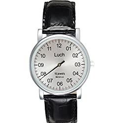 LUCH Analog Mechancal Leather Band Men's Wristwatch
