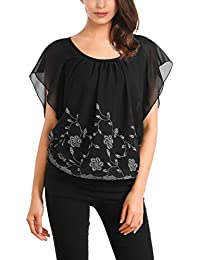 DJT Damen Chiffon Kurzarm Tunika Batwing Sommer T-Shirt
