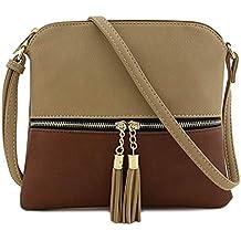 4bf4a7eeb0f41 Bfmyxgs Mother es Day Messenger Bag für Frauen Leder Tassel Crossbody Bag  Hit Color Shoulder Bag