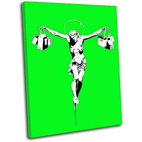 Canvas Culture-Crocifisso per la spesa, motivo: Banksy, stampa artistica su tela, Immagine con cornice, verde, 120 x 80 cm