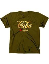 """Styletex23 Gold Edition - Camiseta, diseño con texto """"Viva Cuba Libre"""" verde verde Talla:large"""