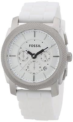 Fossil Machine FS4805 de cuarzo para hombre, correa de silicona color blanco (cronómetro)