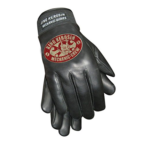 King Kerosin Mechanic Crew Handschuhe Lederhandschuhe (XL, Schwarz)