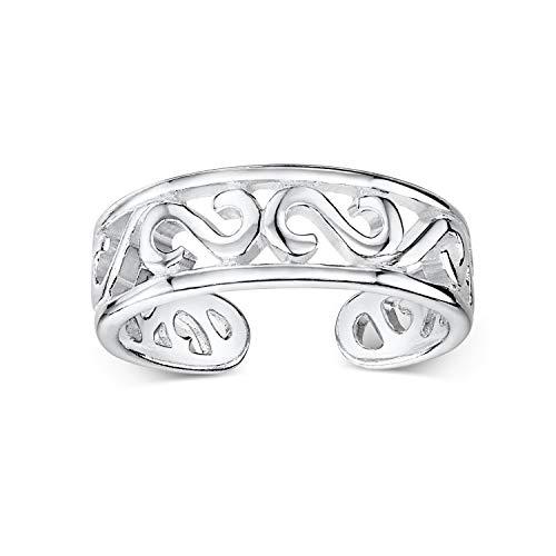 Amberta Echt 925 Sterling Silber - Einstellbarer Zehenring für Damen - Runde Midi Ring - Keltish Design - Durchmesser 13 mm - Breite 1.2 mm