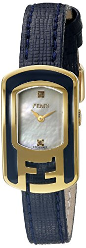 Fendi Chameleon F313424531D1 30x18mm Diamonds Gold Plated Stainless Steel Case Blue Calfskin Anti-Reflective Sapphire Women's Watch