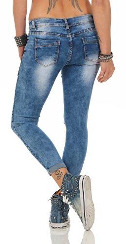 11282 Fashion4Young Damen Jeans Hose Röhrenjeans Damenjeans Stretch-Denim Skinny Blau