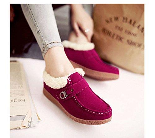 Femmes Mocassins Basse Suédé Hiver Automne Coton Duvet Chaud Antidérapant Chaussures Rose