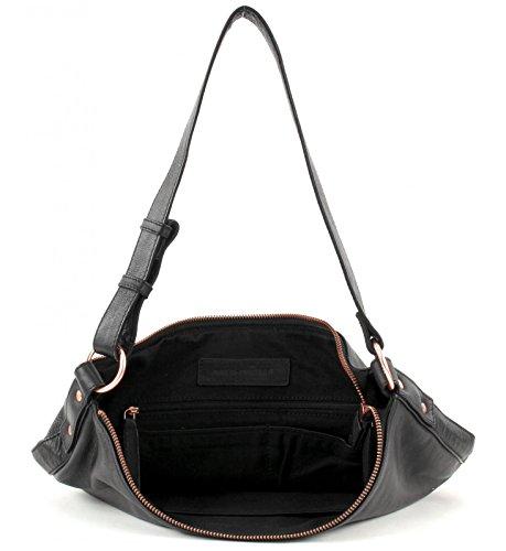 FREDsBRUDER Unity Sac à bandoulière dames en cuir nappa souple - grande taille (34 x 34 x 13 cm) schwarz