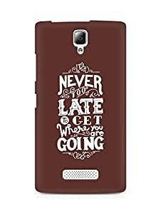AMEZ never to late to reach where you are going Back Cover For Lenovo A2010