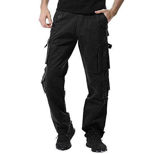 TIFIY intage Airborne Hosen Männer Arbeiten im Freien Hosen Cargo Pants Lightning Lange Hosen Fashion Feld Hosen Männer Jogginghose(Schwarz,33)