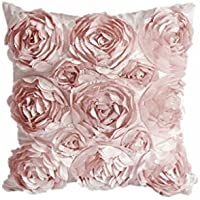 Blumen-Design Kissenbezug Leinenwurf Sofakissen Fall Bett Dekor Dunkelrosa - Rosa