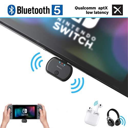 Golvery Bluetooth 4,2 transmisor para Nintendo switch, Plug & Play USB tipo-C adaptador de audio para auriculares inalámbricos, chat de voz de soporte, aptX baja latencia, cancelación de ruido