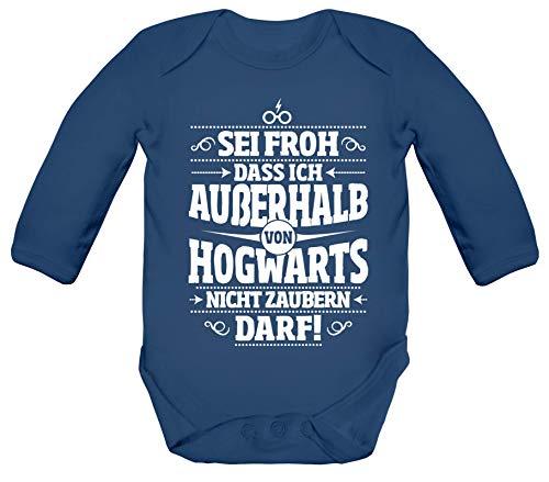 ShirtStreet Fanartikel Fan Kult Film Strampler Bio Baby Body Bodysuit Langarm Jungen Mädchen Außerhalb von Hogwarts, Größe: 3-6 Monate,Nautical - Harry Potter Kostüm Babys