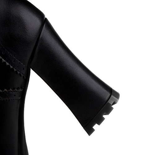 AalarDom Femme Haut Bas Plate-Forme Étanche Zip à Talon Haut Rond Bottes Noir