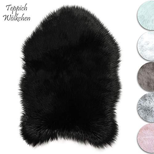 Teppich wölkchen tappeto in finta pelle di pecora-agnello | morbido e peloso per stanza da letto o soggiorno | tappeto soffice o copertura per divani e sedie (nero - 80 x 120 cm grande)