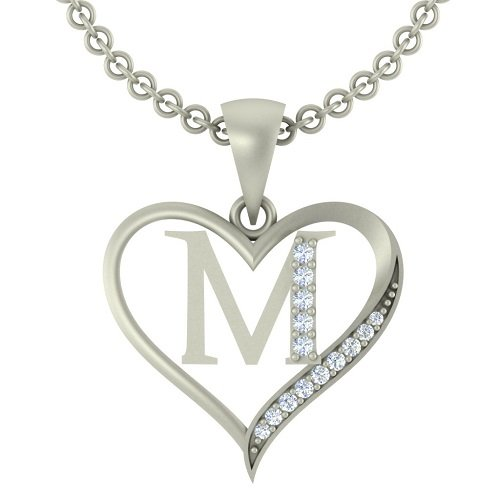 "Kanak Jewels Initial Letter ""M"" In Heart Shaped With Chain Silver Plated Cubic Zirconia Brass Pendant For Everyone"