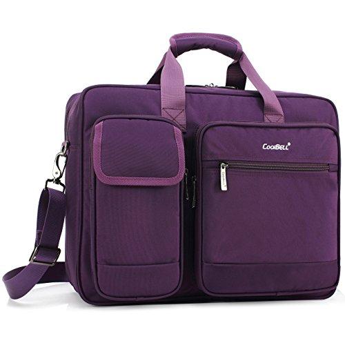 CoolBELL 17,3 Zoll Laptop Aktentasche schützend Messenger Bag Nylon Schultertasche Multifunktional Henkeltasche Laptop / Ultrabook / Tablet / Macbook / Dell / HP, Violett
