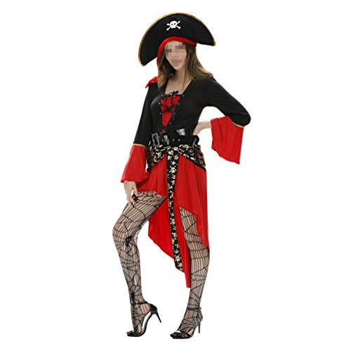 Fenical Frauenpiratenkostümpiraten kleiden Kappenrock-Gürtelnetzsocken für Halloween an (Lady Aviator Kostüm)