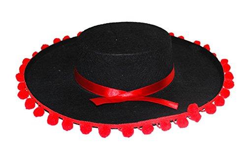 Karnevalsbud - Mexikanischer Hut- Flamenco- Muerte Tag der Toten- Day of dead Kopfbedeckung, Schwarz