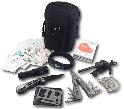 Imagen de felbridge green kits de supervivencia en emergencia con alicates plegables multitool y pulsera paracord   para acampar bushcraft militar y en sus aventuras al aire libre   molle survival kit v1